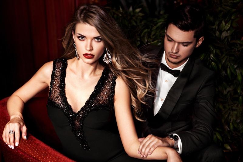 Stylish Couple Black Dress Earrings Tuxedo