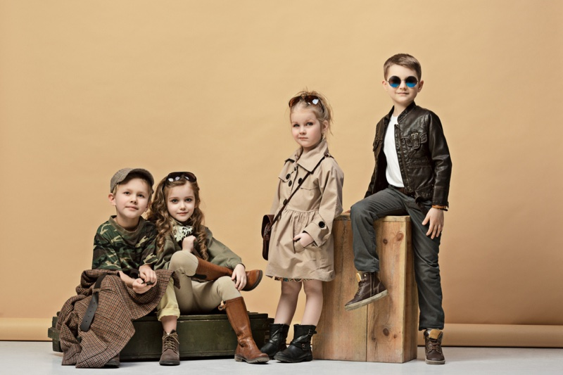 Trendy Kid Models Jackets Boots