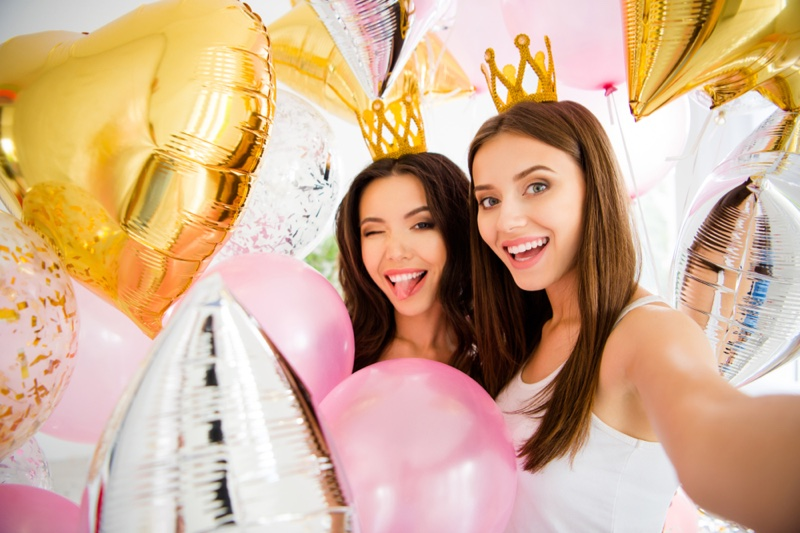 Two Attractive Women Smiling Party Balloons Selfie