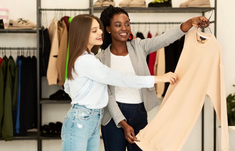Two Girls Shopping Dress Smiling