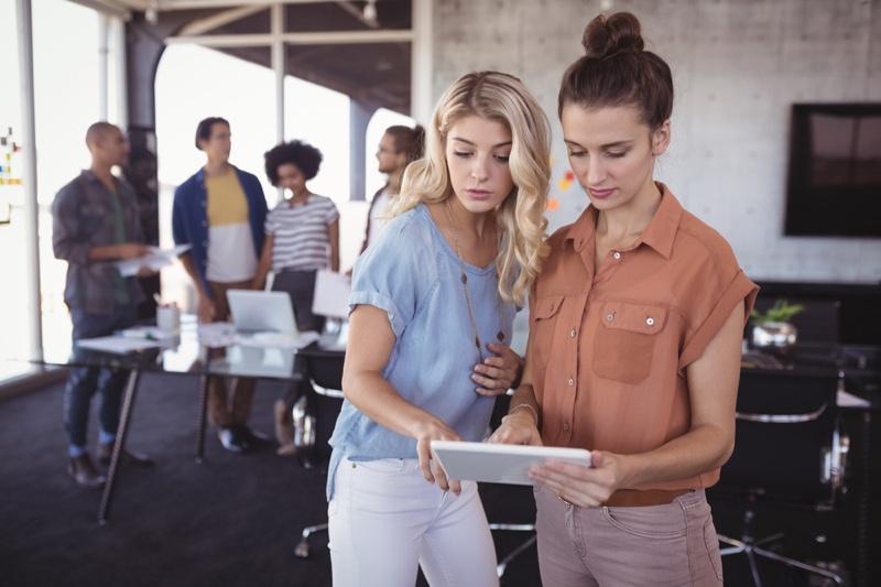 Two Women Working Office Stylish
