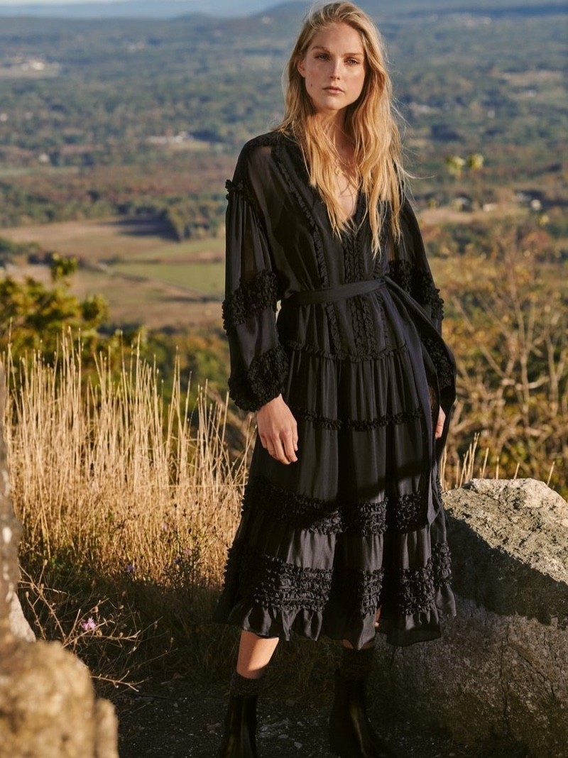 Ulla Johnson Ulthea Dress $695 and WANT Les Essentiels Valdez Block Heel Chelsea Boots $276.50