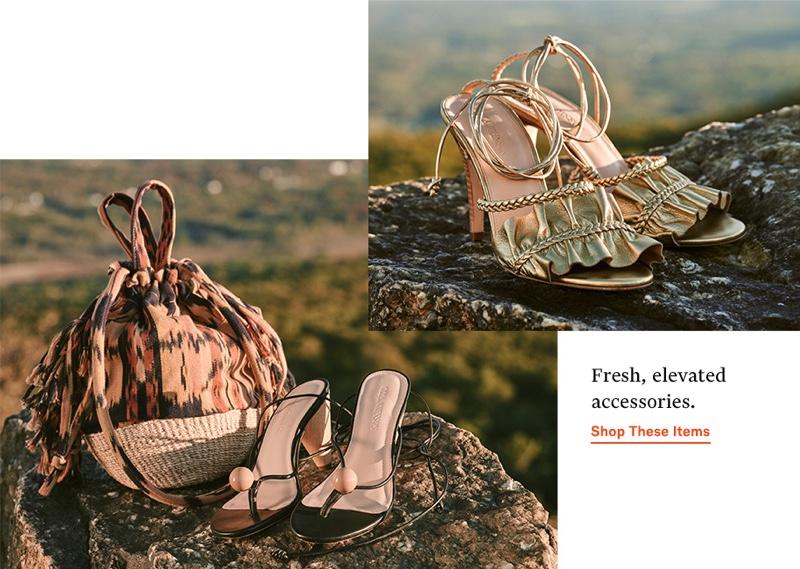 Ulla Johnson Anita Basket Bag $435, Darby Heel Sandals $395 and Flora Heel Sandals $395