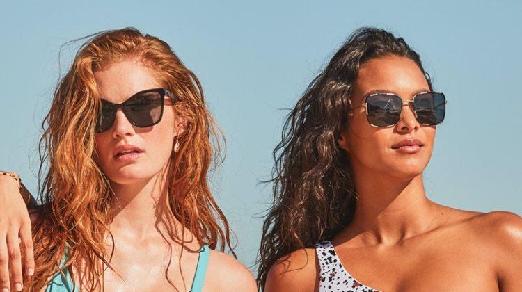 Alexina Graham and Lais Ribeiro pose in Cabo, Mexico, for Victoria's Secret Swim Spring 2020 campaign