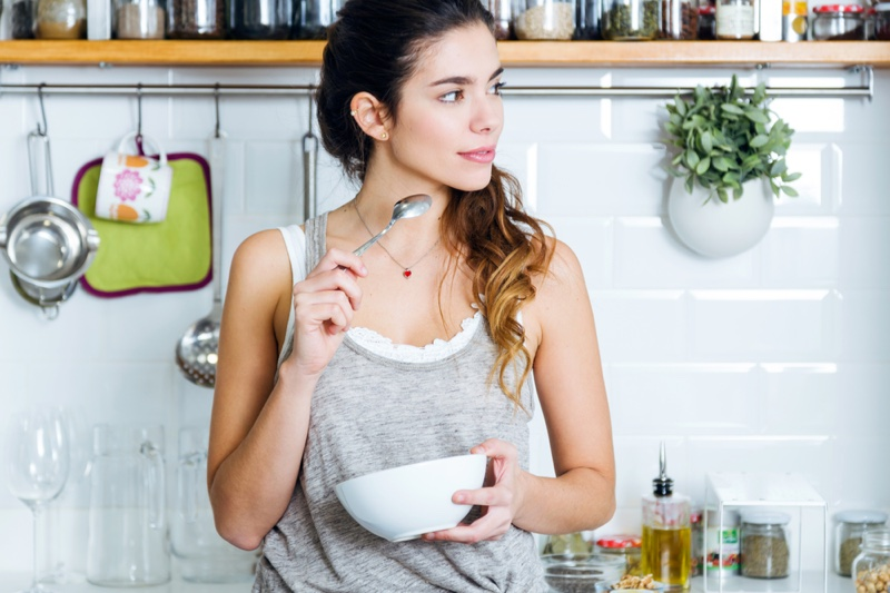 Woman Eating Bowl Day Grey Tank Top