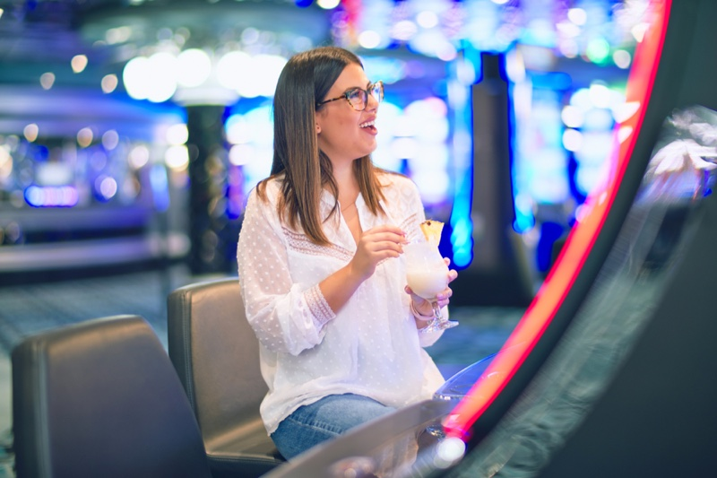 Woman Smiling Casino Drink Casual Glasses