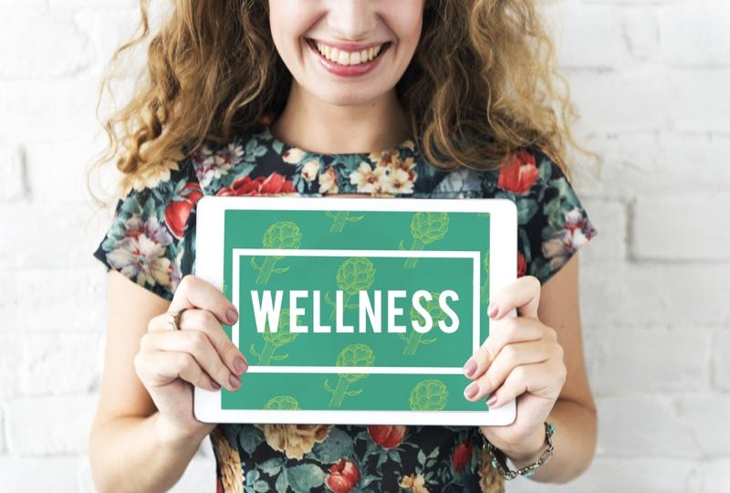 Woman Smiling Wellness Sign Floral Print Shirt