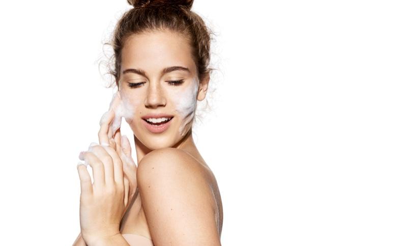 Woman Washing Face Beauty