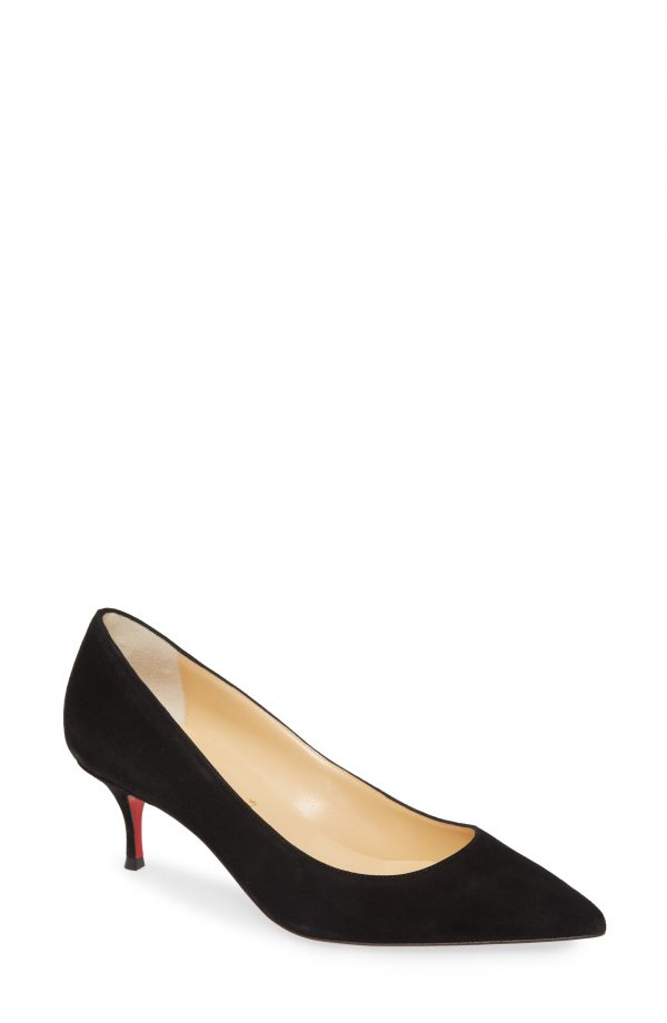 Women's Christian Louboutin Kate Kitten Heel Pump, Size 5US / 35EU - Black
