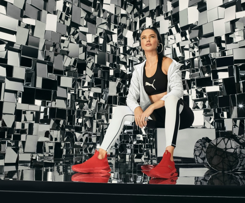 PUMA taps Adriana Lima for LQD Cell Shatter Mid sneaker campaign