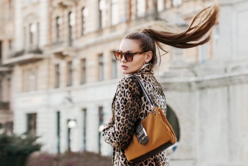 Animal Print Jacket Ponytail Sunglasses Bag Model Glam Fashion