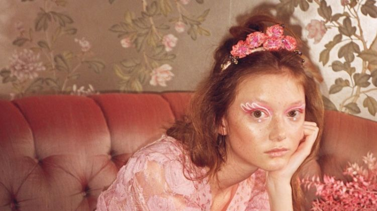 Sara Grace Wallerstedt looks pretty in pink for Anna Sui spring-summer 2020 campaign