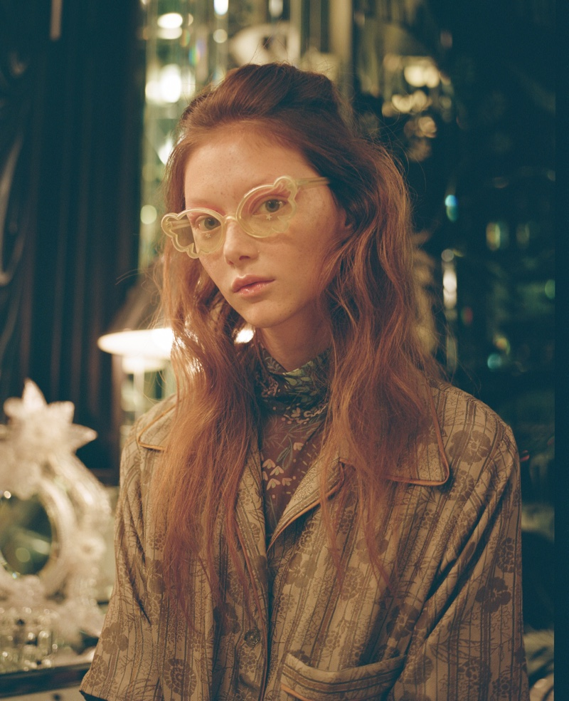 Model Sara Grace Wallerstedt appears in Anna Sui spring-summer 2020 campaign