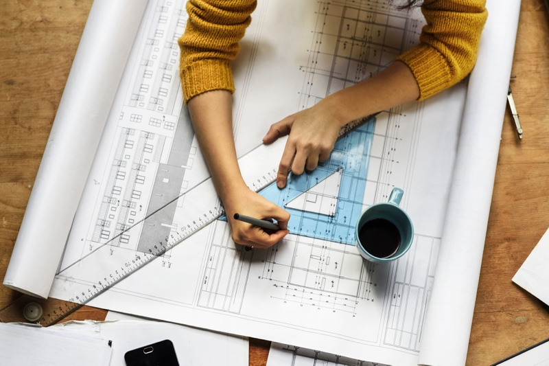 Architecture Plan Ruler Woman's Hands