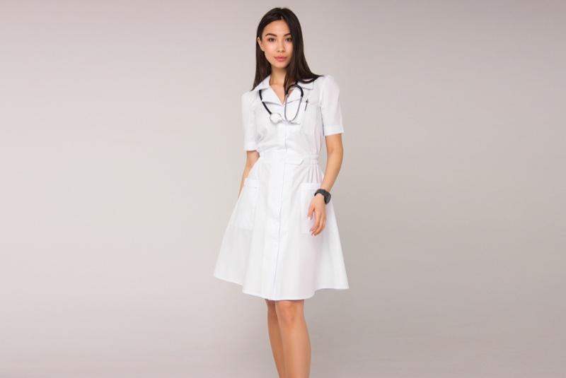 Asian Model Chic Nurse Uniform Dress White