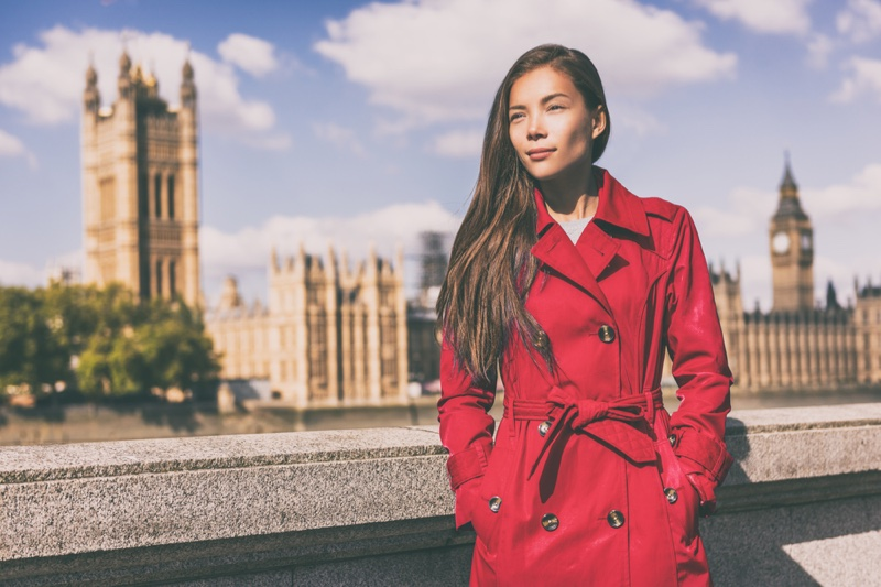 Asian Model Red Trench Coat English Background
