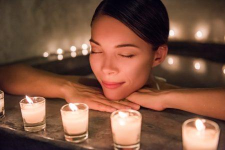 Asian Woman Calm Bathtub Candles