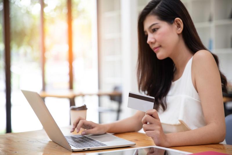Asian Woman Credit Card Laptop