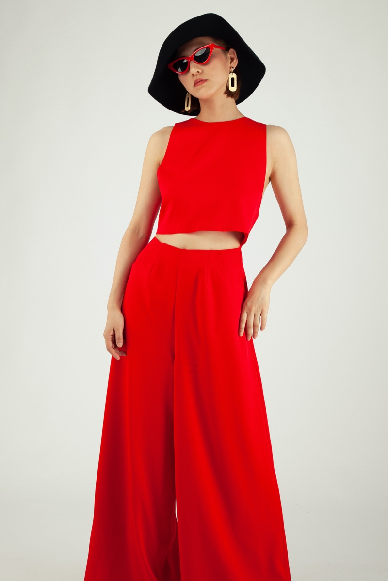 Asian Woman Red Two Piece Outfit Crop Top Trousers Sunglasses Hat