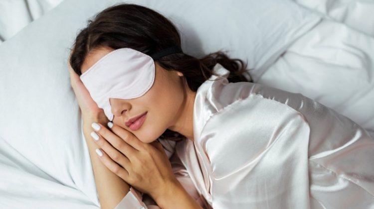 Attractive Woman Sleeping Bed Eye Mask Pajamas