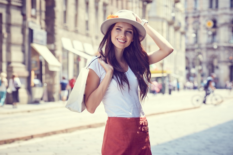 Attractive Woman Smiling Street Shopping Bag