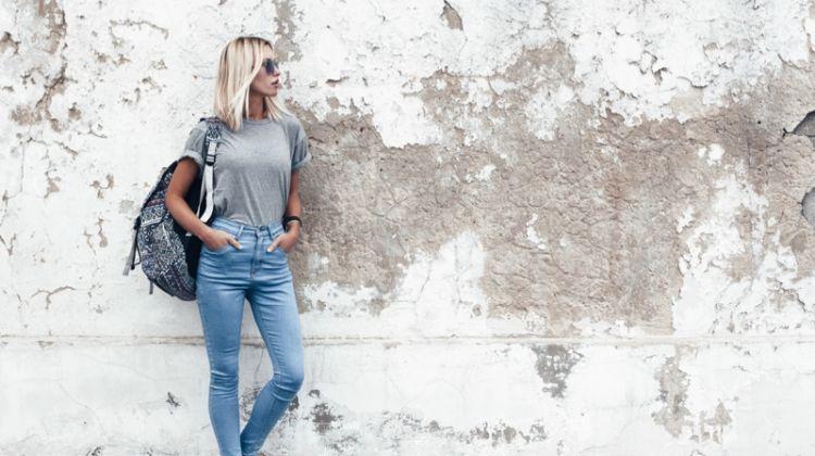 Blonde Model Grey T-Shirt Jeans Backpack