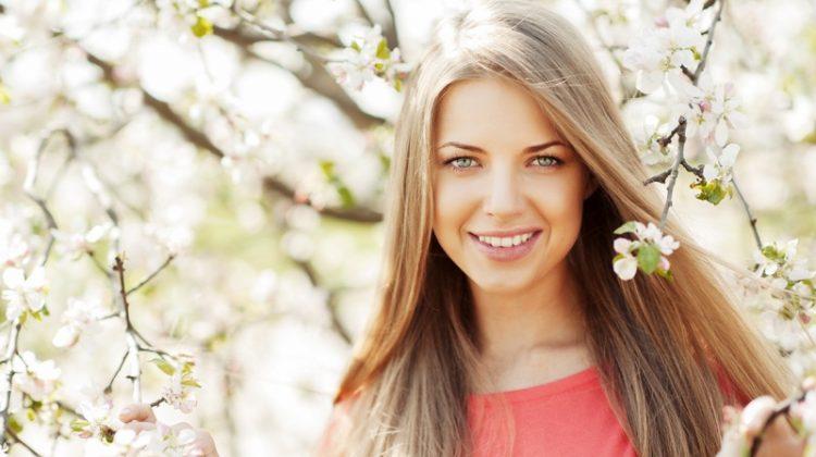 Blonde Model Smiling Spring Beauty Makeup