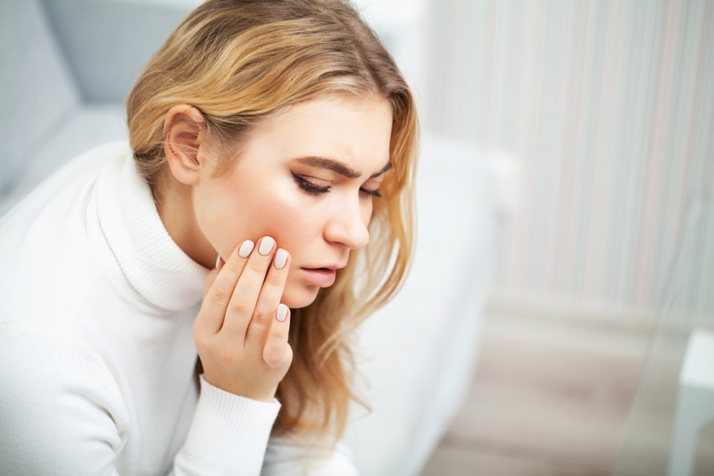 Blonde Woman Pain Teeth Worry Pink Nails