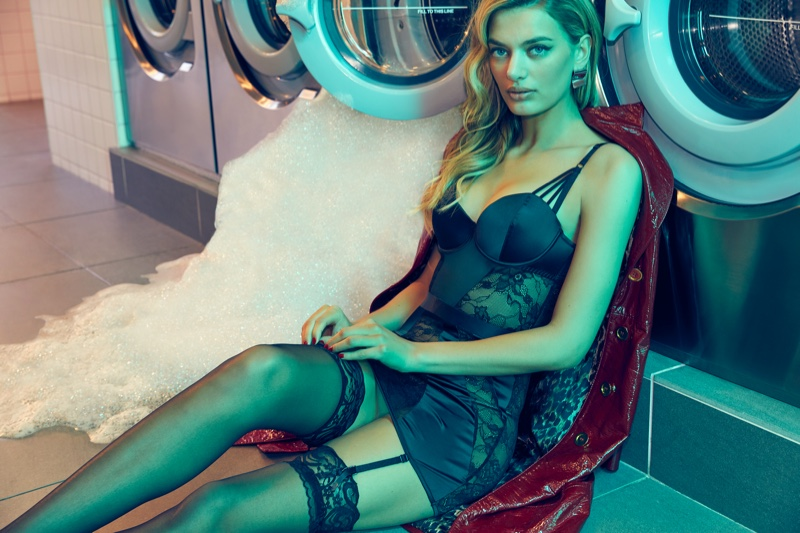Clad in black lace, Bregje Heinen poses for Frederick's of Hollywood spring 2020 campaign