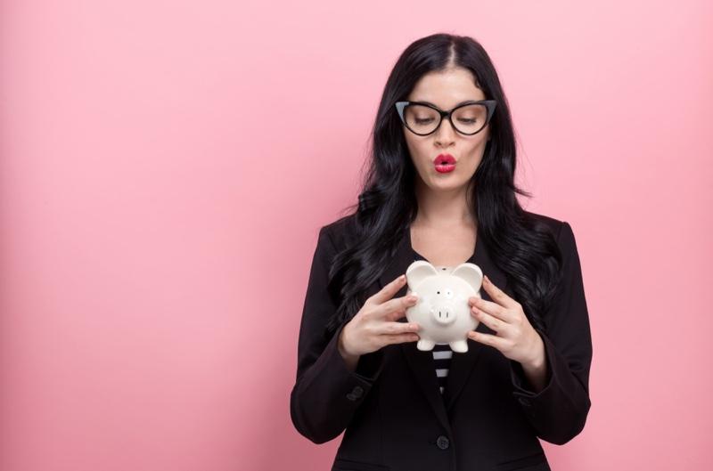 Brunette Girl Cat Eye Glasses Piggy Bank