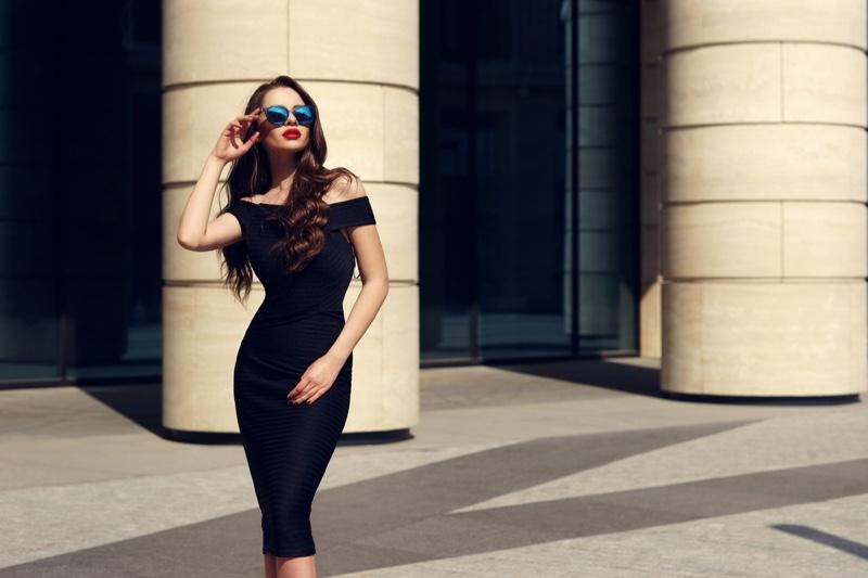 Brunette Woman Little Black Dress Sunglasses