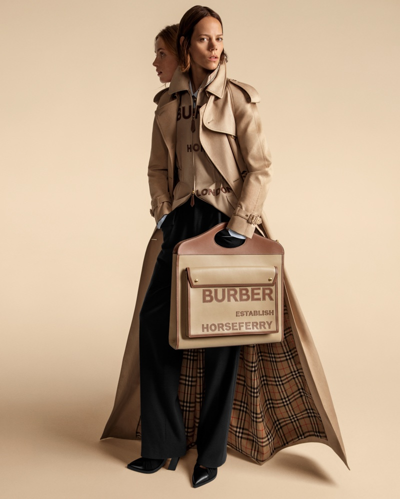 Freja Beha Erichsen and Rianne van Rompaey wear trenches in Burberry spring-summer 2020 campaign