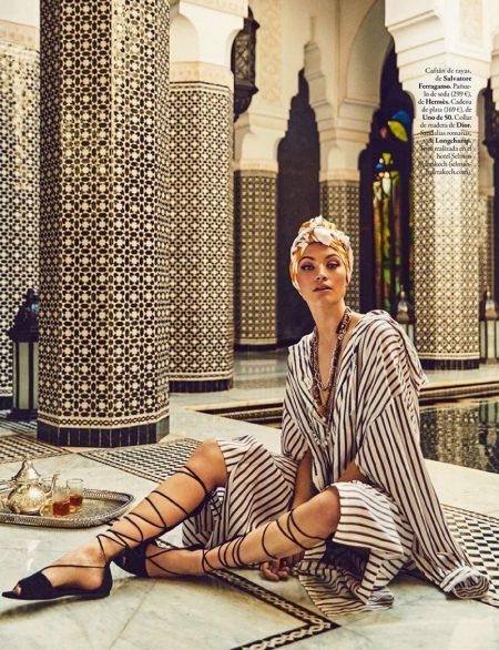 Caroline Corinth Embraces Luxe Fashions for ELLE Spain
