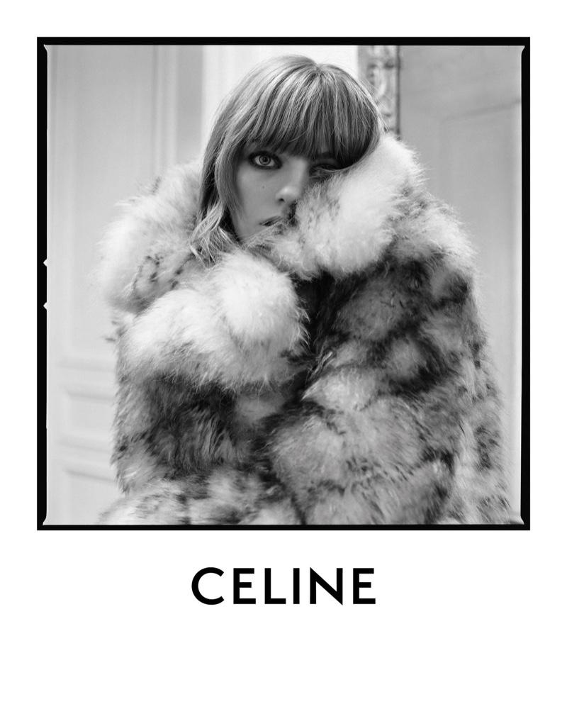 Fran Summers wears faux fur in Celine spring-summer 2020 campaign