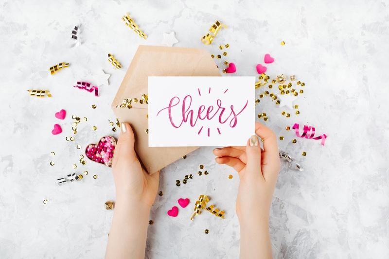 Cheers Greeting Card Festive Envelope