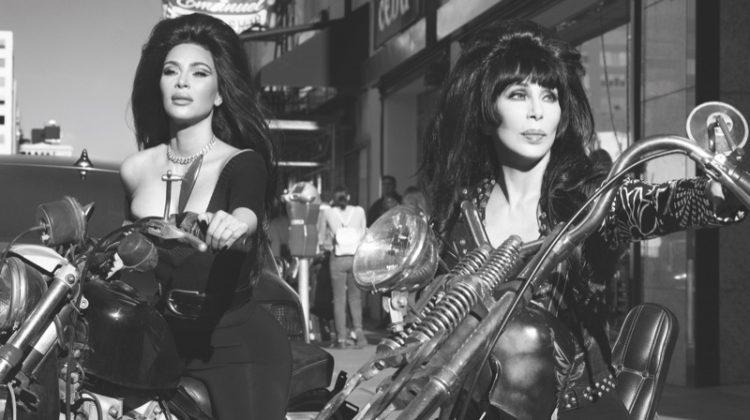 Kim Kardashian and Cher pose on motorcycles