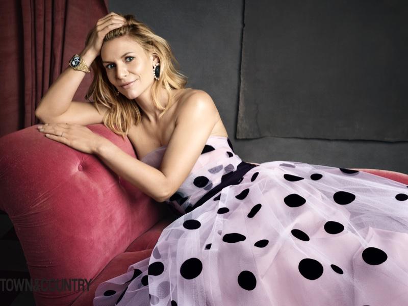 Homeland star Claire Danes wears polka dot print dress