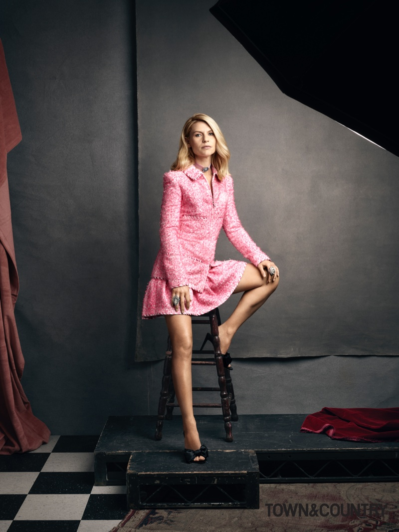 Looking pretty in pink, Claire Danes poses in Chanel jacket and skirt with Giuseppe Zanotti mules