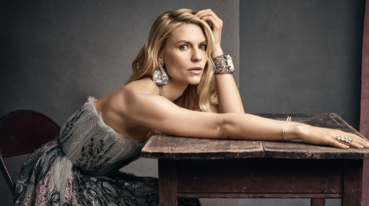 Actress Claire Danes poses in Dior dress with Artisan Antique jewelry
