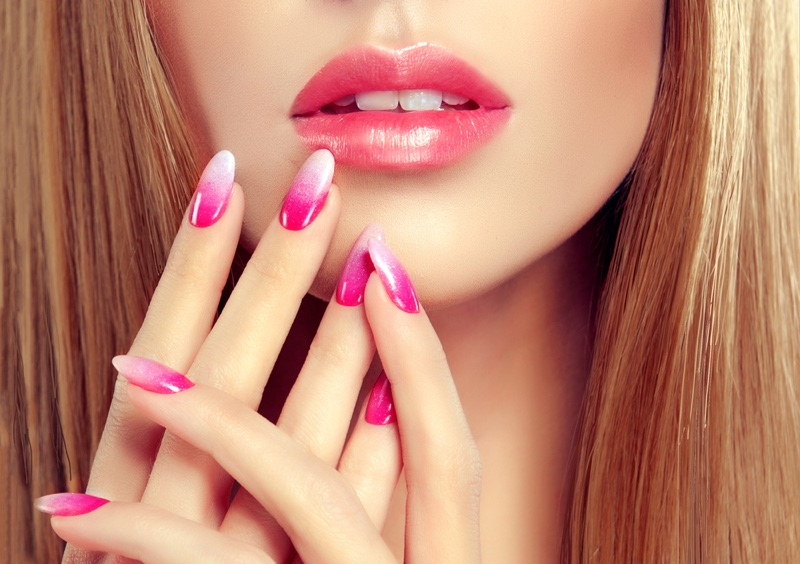Closeup Model Nails Pink White Ombre Manicure