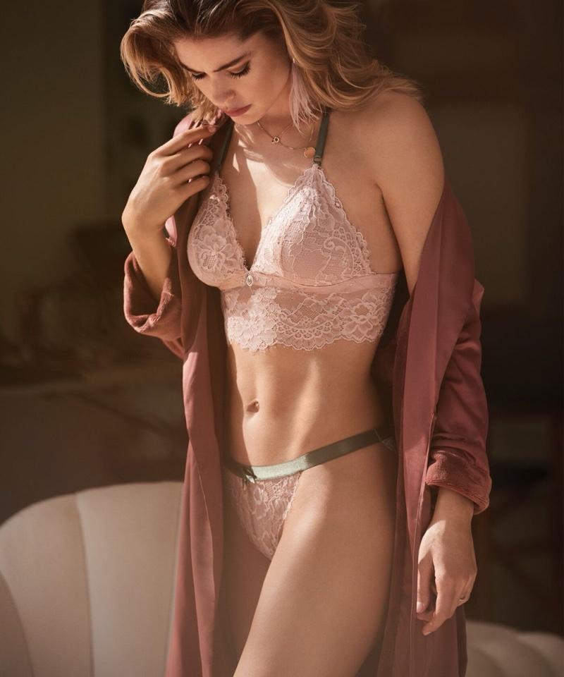 Looking pretty in pink, Doutzen Kroes wears Hunkemoller spring 2020 lingerie collaboration