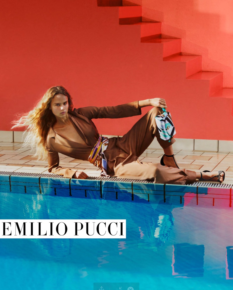 Posing by a pool, Olivia Vinten fronts Emilio Pucci spring-summer 2020 campaign