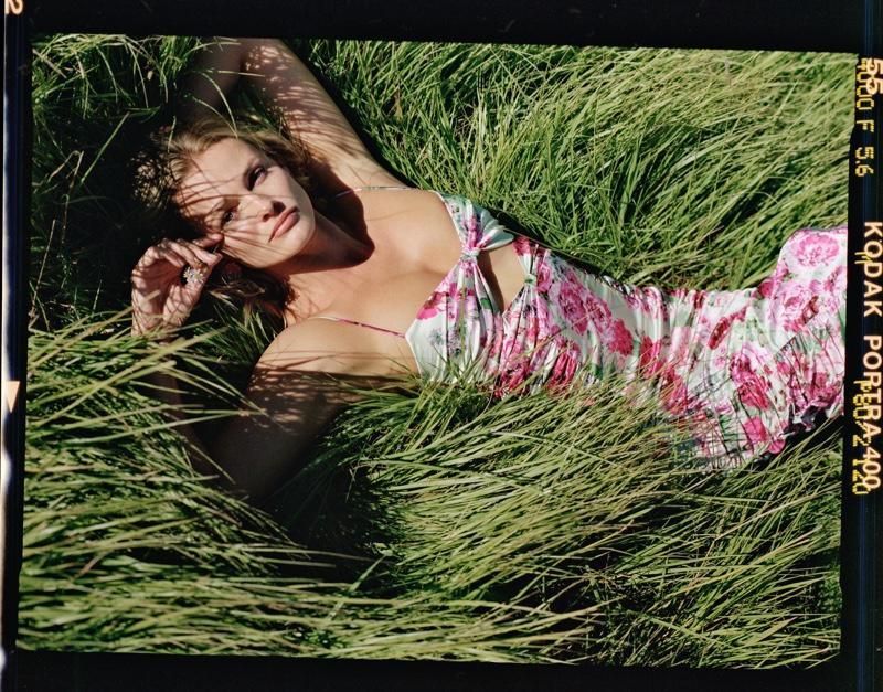 Edita Vilkeviciute models floral prints in For Love & Lemons spring 2020 campaign