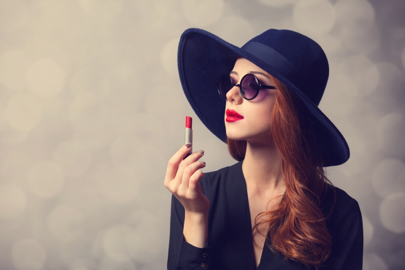 Glamorous Woman Red Hair Red Lipstick Hat Sunglasses