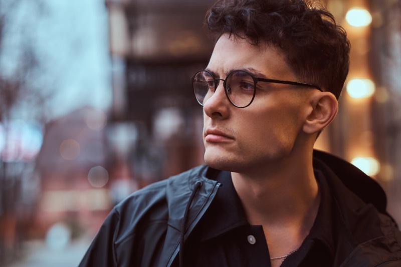 Glasses Wearing Man Short Hair