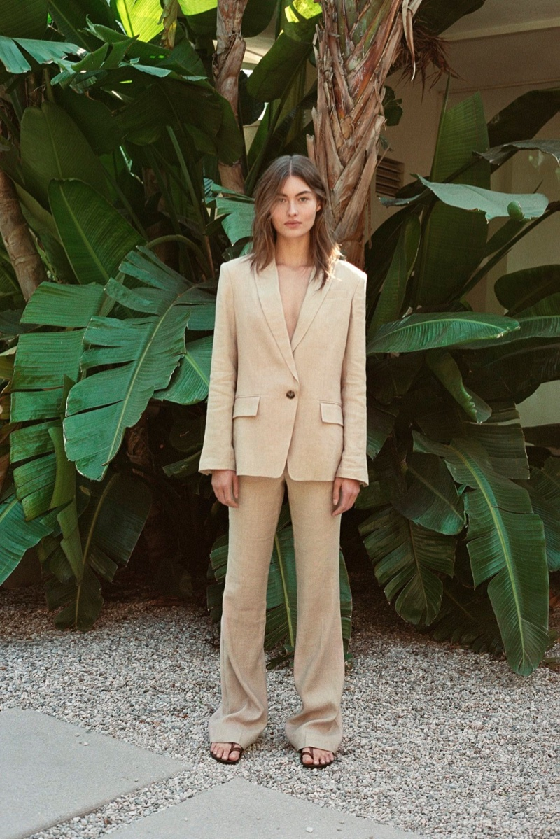 Suiting up, Grace Elizabeth appears in FRAME spring-summer 2020 campaign