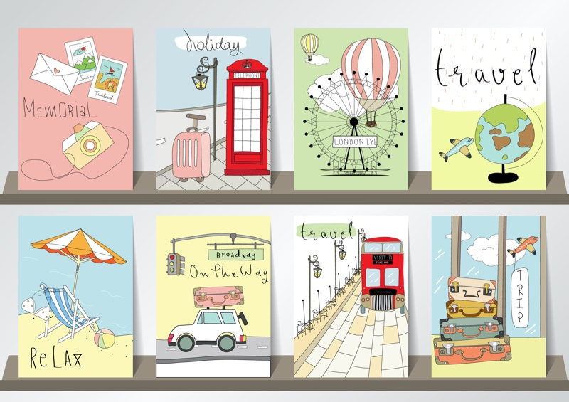Greeting Cards Travel Various Selection Colorful