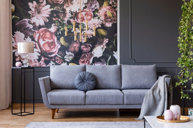 Grey Couch Floral Wall Lamp Home