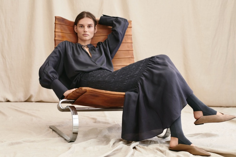 H&M Silk Blend Blouse and Smocked Silk-Blend Skirt