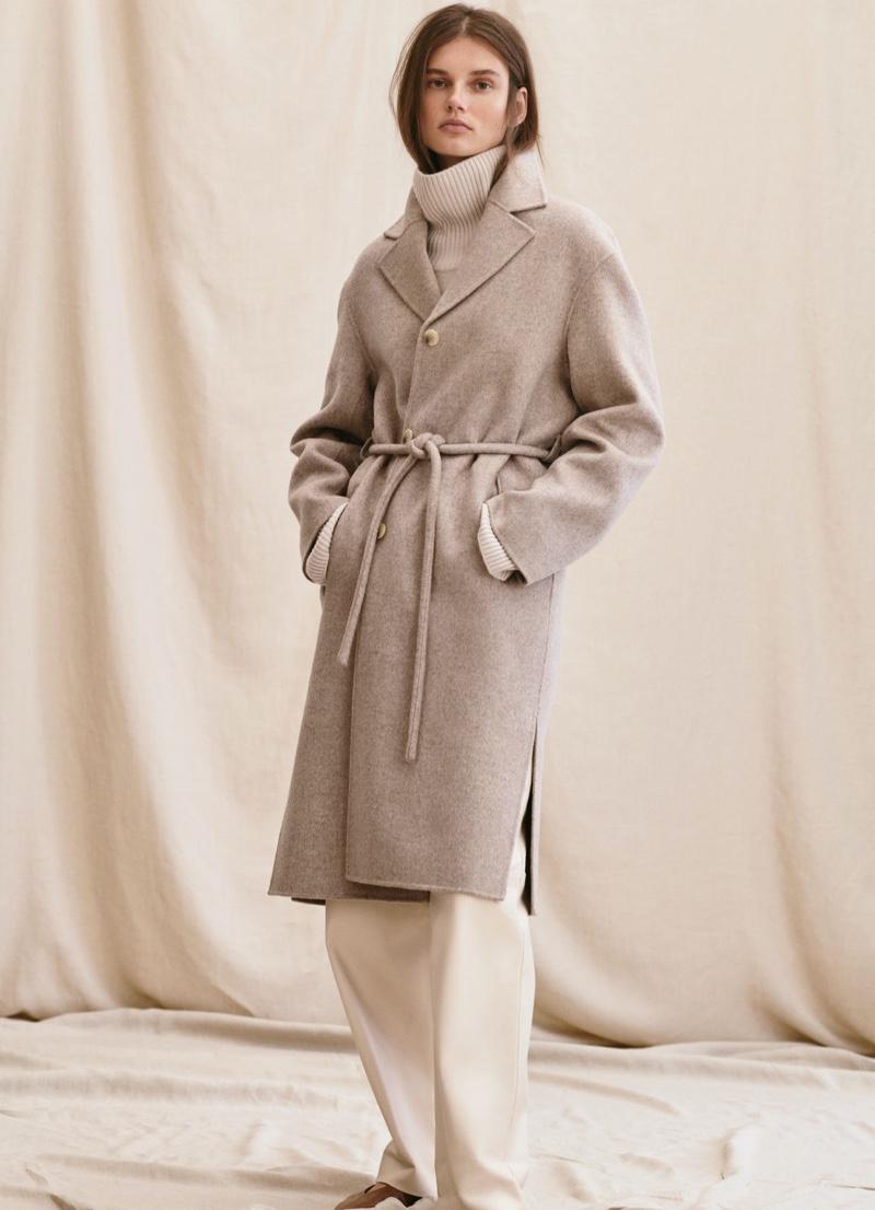 Giedre Dukauskaite poses in H&M Premium winter 2020 lookbook